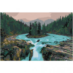 Водопад Sunwapta falls Канада Раскраска картина по номерам на холсте