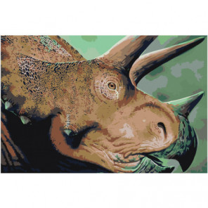 Голова динозавра трицератопса 100х150 Раскраска картина по номерам на холсте