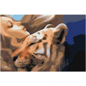 Девушка с тигром Раскраска картина по номерам на холсте