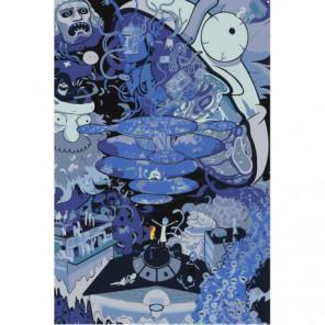 Коллаж Рик и Морти 80х120 Раскраска картина по номерам на холсте