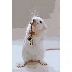 Мышонок саксофонист 80х120 Раскраска картина по номерам на холсте