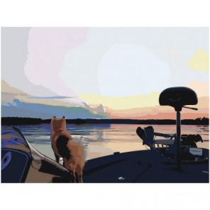 Собака. Закат. Озеро. Раскраска картина по номерам на холсте