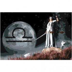 Знак зодиака Весы на фоне луны 80х120 Раскраска картина по номерам на холсте