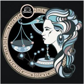 Знак зодиака Весы и девушка 100х100 Раскраска картина по номерам на холсте