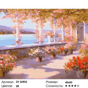 Сложность и количество цветов Цветущая терраса Раскраска картина по номерам на холсте ZX 22433