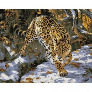 Охота леопарда Раскраска картина по номерам на холсте