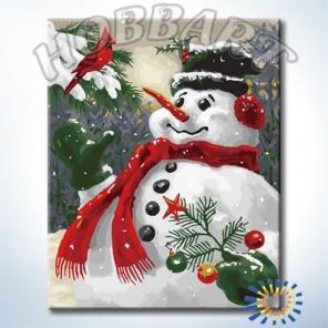 Снеговик Раскраска по номерам акриловыми красками на холсте Hobbart