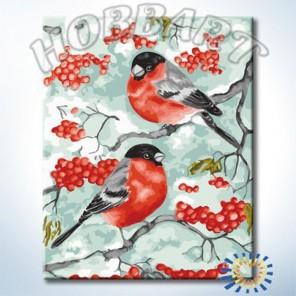 Снегири Раскраска по номерам акриловыми красками на холсте Hobbart