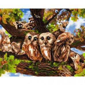 Лесные друзья Раскраска картина по номерам на холсте