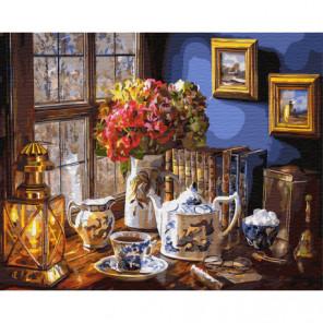 Чайный сервиз Раскраска картина по номерам на холсте