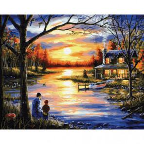 Рыбалка с отцом Раскраска картина по номерам на холсте