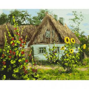 Дом и подсолнухи Раскраска картина по номерам на холсте