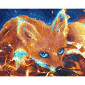 Огненная лиса Раскраска картина по номерам на холсте