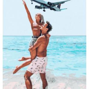Самолет над песчаным пляжем Раскраска картина по номерам на холсте