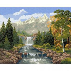 Ступени водопада Раскраска картина по номерам на холсте
