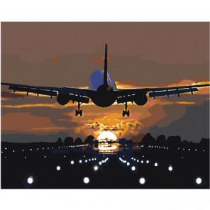 Взлетающий самолет 80х100 Раскраска картина по номерам на холсте