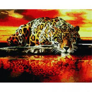 Леопард у воды Алмазная мозаика вышивка Painting Diamond