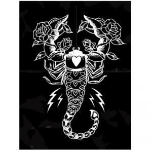 Знак зодиака скорпион на черном фоне 60х80 Раскраска картина по номерам на холсте