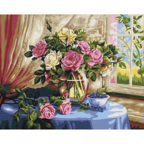 Розы и голубика Раскраска картина по номерам на холсте