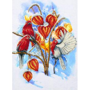Физалис в снегу Набор для частичной вышивки бисером Паутинка Б-1475