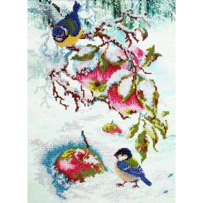 Яблочки для синички Набор для частичной вышивки бисером Паутинка Б-1477