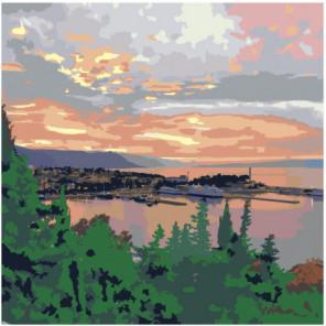 Закат в морской бухте Раскраска картина по номерам на холсте