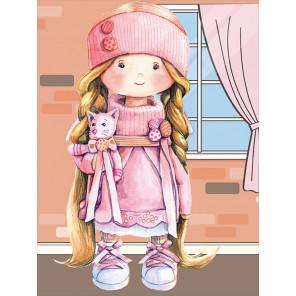 Куколка в розовом Алмазная мозаика на подрамнике LE099