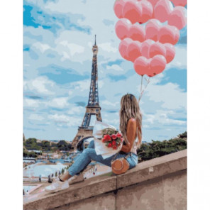Воздушный Париж Раскраска картина по номерам на холсте