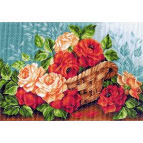 Розы в корзине Канва с рисунком для вышивки Матренин посад