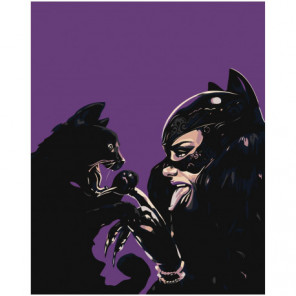 Кошка и женщина-кошка 80х100 Раскраска картина по номерам на холсте