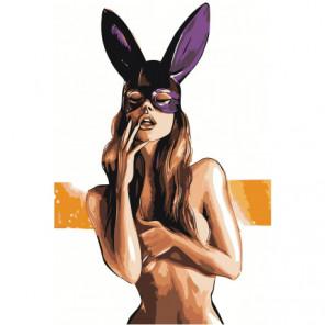 Обнаженная девушка в маске зайчика Раскраска картина по номерам на холсте