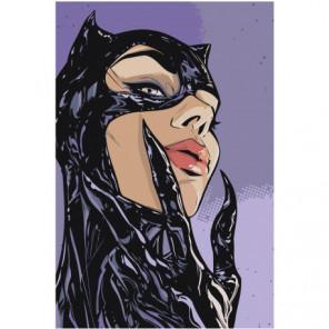 Женщина кошка Раскраска картина по номерам на холсте