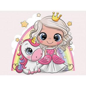 Принцесса и единорожек Алмазная мозаика на подрамнике LE105