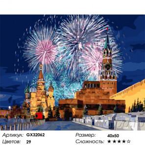 Сложность и количество цветов Завораживающий салют на Красной площади Раскраска картина по номерам на холсте GX32062