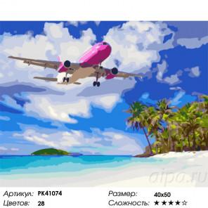 Сложность и количество цветов Самолет над пляжем Раскраска картина по номерам на холсте PK41074