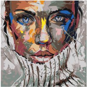 Радужная девушка в свитере Раскраска картина по номерам на холсте