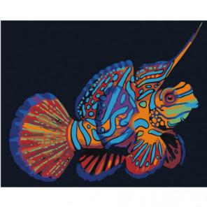 Радужная рыбка мандаринка 100х125 Раскраска картина по номерам на холсте