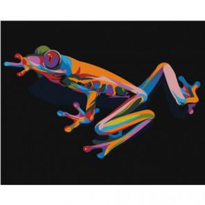 Радужная лягушка 80х100 Раскраска картина по номерам на холсте