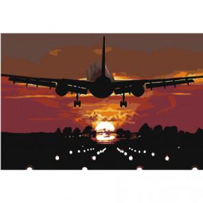 Самолет над взлетной полосой 80х120 Раскраска картина по номерам на холсте