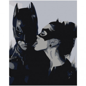 Бэтмен и женщина-кошка черно-белая 80х100 Раскраска картина по номерам на холсте