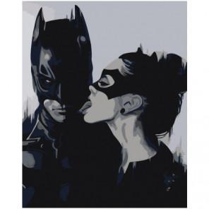 Бэтмен и женщина-кошка черно-белая 100х125 Раскраска картина по номерам на холсте
