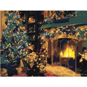 Рождество у камина 75х100 Раскраска картина по номерам на холсте