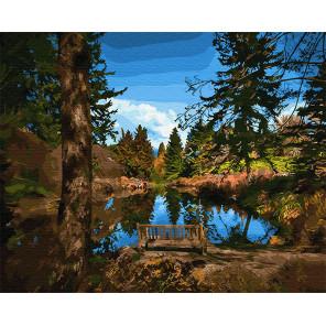 Лавочка у озера Раскраска картина по номерам на холсте Z-GX30938