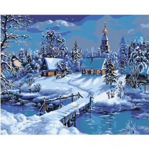 Зимний пейзаж с церковью Раскраска картина по номерам на холсте