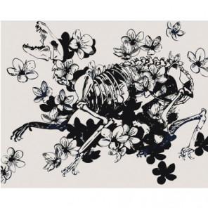 Skeleton and flowers Раскраска картина по номерам на холсте