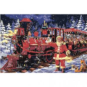 Санта-Клаус и новогодний экспресс 80х120 Раскраска картина по номерам на холсте