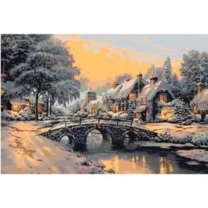 Зимний пейзаж с мостом Раскраска картина по номерам на холсте