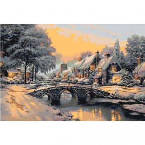 Зимний пейзаж с мостом 100х150 Раскраска картина по номерам на холсте