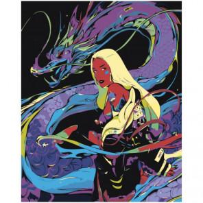Девушка и дракон, абстракция 80х100 Раскраска картина по номерам на холсте