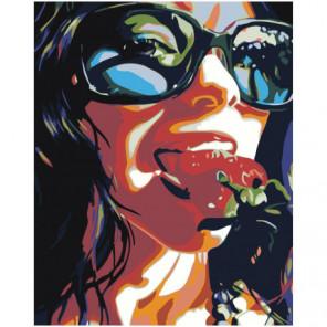 Девушка с клубникой Раскраска картина по номерам на холсте